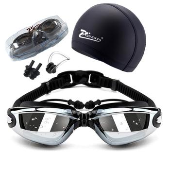 Krótkowzroczność okulary pływackie dorosłe gogle pływackie 5 w 1 gogle pływackie zestaw Anti Fog UV wodoodporne okulary na receptę 150-800 stopni tanie i dobre opinie WOMEN WHITE Black Pływać Żel krzemionkowy Silikonowe