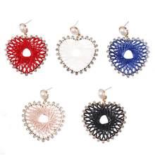 ZWPON Bohemia Earrings Cotton Thread Crochet Fabric Heart Hollow Drop Earrings Inlay Crystal Heart Knit Earrings for Woman artificial crystal floral hollowed heart drop earrings