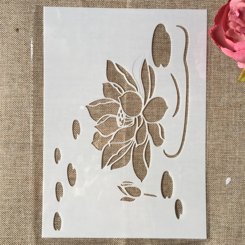 29cm A4 Lotus Pond II DIY Layering Stencils Wall Painting Scrapbook Coloring Embossing Album Decorative Template
