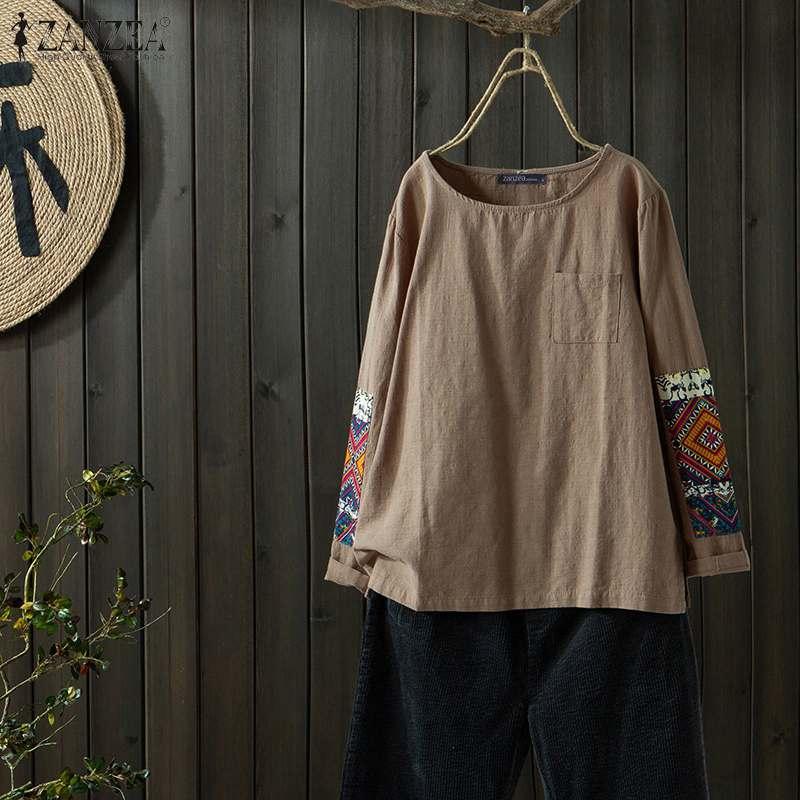 Женская Лоскутная Блузка 2020 ZANZEA стильные принтованные топы, повседневные блузки женские рубашки с длинным рукавом Женская туника с круглым вырезом размера плюс|Блузки и рубашки|   | АлиЭкспресс