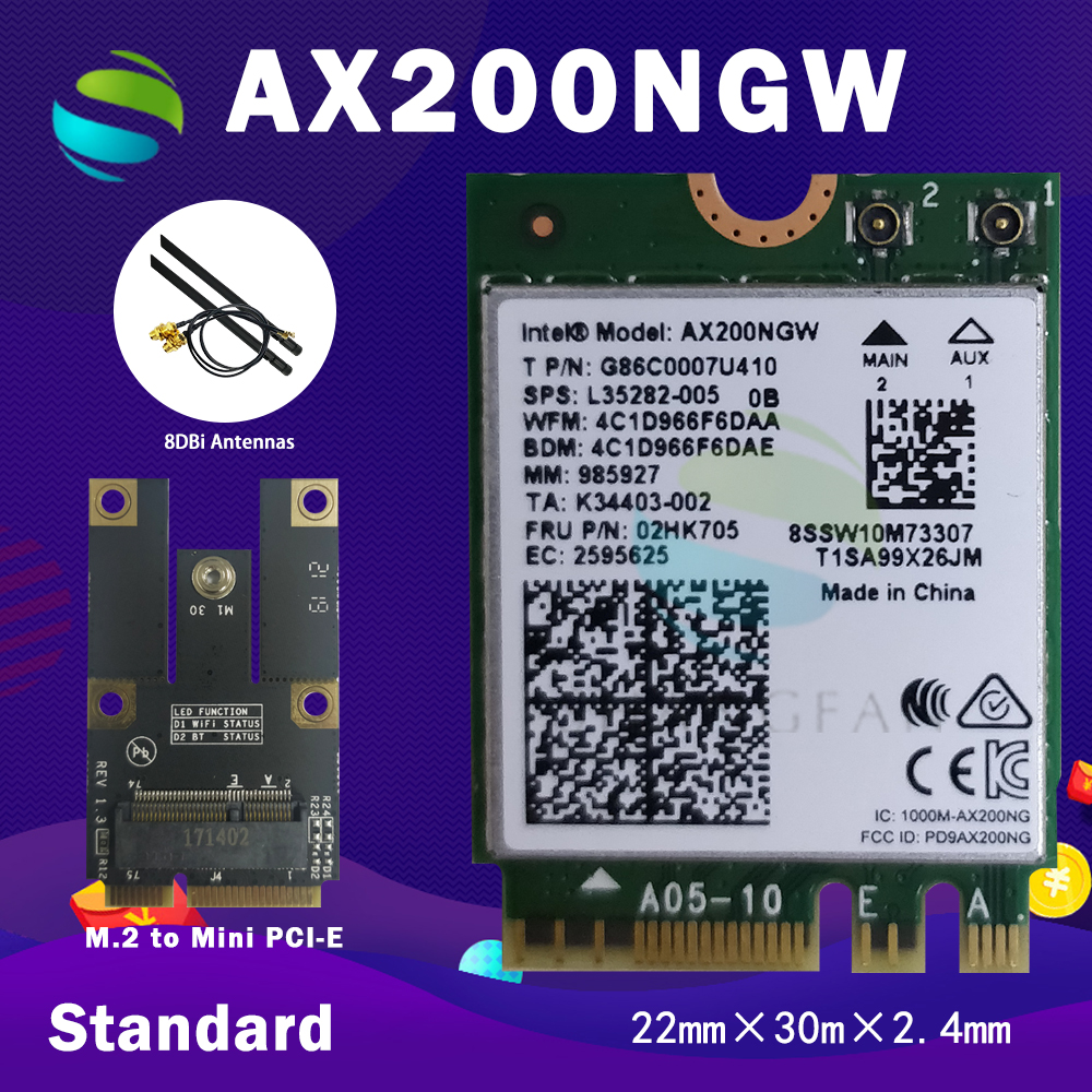 Dual Band 2400Mbps Wireless AX200NGW NGFF M.2 Bluetooth 5.0 Wifi Network Card 2.4G/5G 802.11ac/ax For Intel AX200(China)