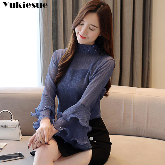 woman blouses 2021 summer flare sleeve beading women's shirt blouse for women blusas womens tops and blouses chiffon shirts 4