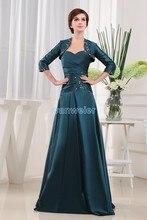бесплатная доставка новый стиль 2016 тафта платья Vestidos формалей невесты горничная платья макси длинные мать невесты платье и куртка