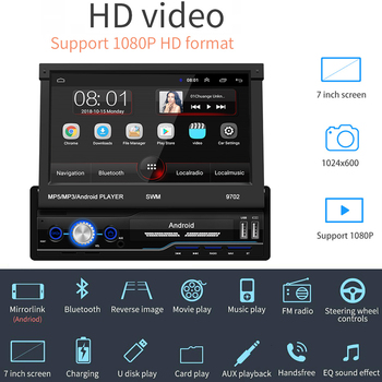 Android 8.1WiFi GPS Navigation 7 Inch HD 2Din Wifi 3G 4G Car Stereo Bluetooth MP5 Player FM Radio Usb Car Accessories
