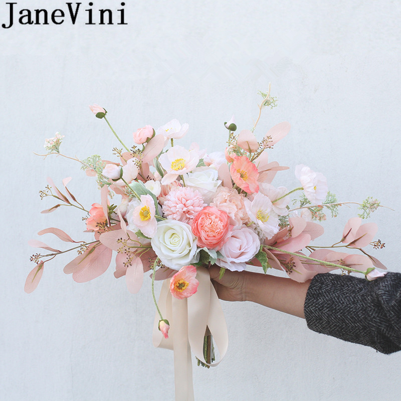 JaneVini Ins Champagne Pink Artificial Bridesmaids Wedding Bouquets Silk Rose Leaves Bridal Flowers Bride Hand Holder Rosa Flor