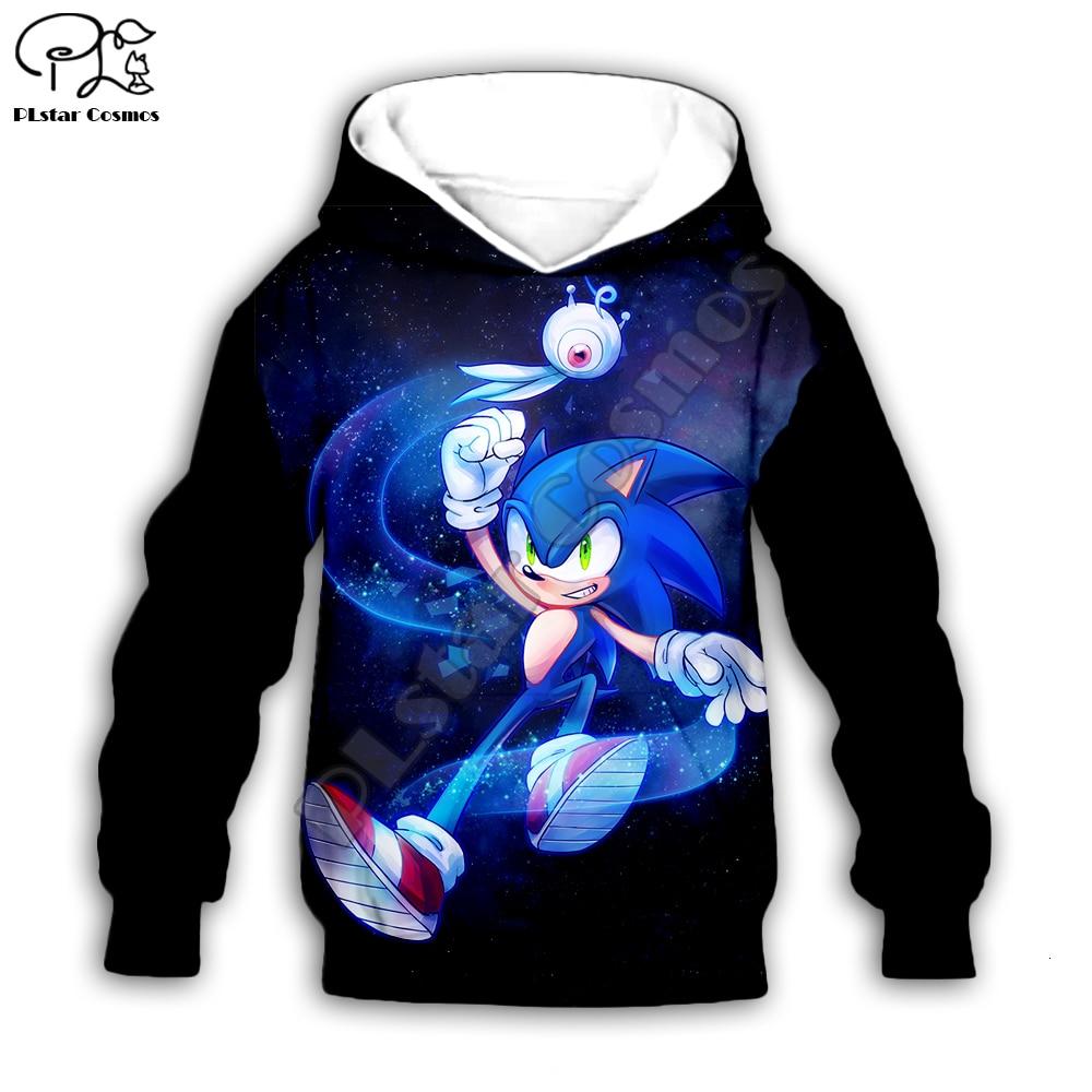 Kids Kawaii Anime Super Sonic Print Baby 3d Hoodies Set Cartoon The Hedgehog Sweatshirt Boys Children Zipper Coat Tshirt Pants