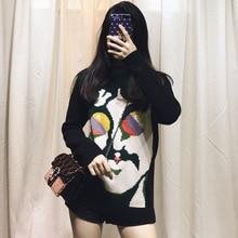 High-end Customized Black-green Figure Cartoon Pattern Sweater Loose Lazy Style Super-thin Knitting Women 2019