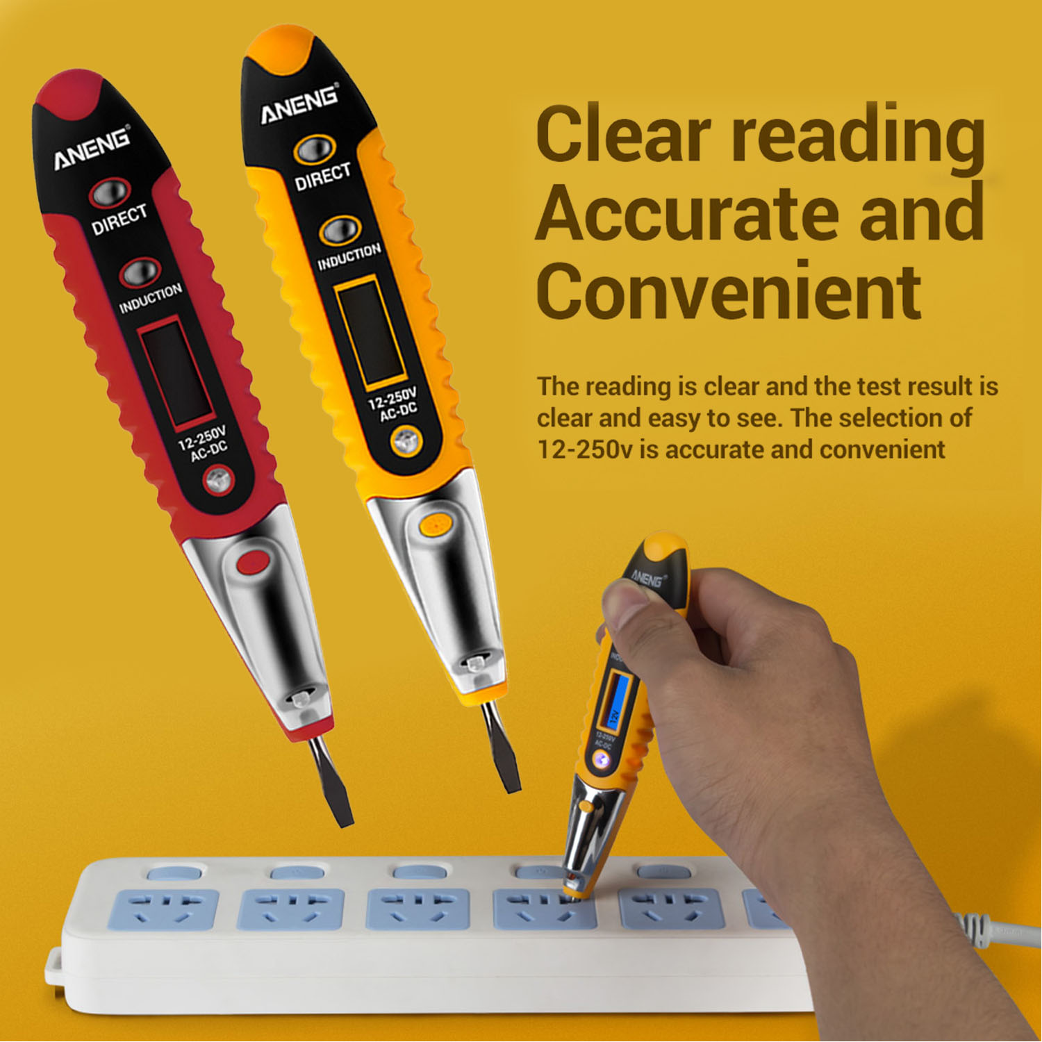 VD700 LCD Display Electric Contact Tester Meter 12-250V AC-DC Voltage Detector Pen With LED Flashlight