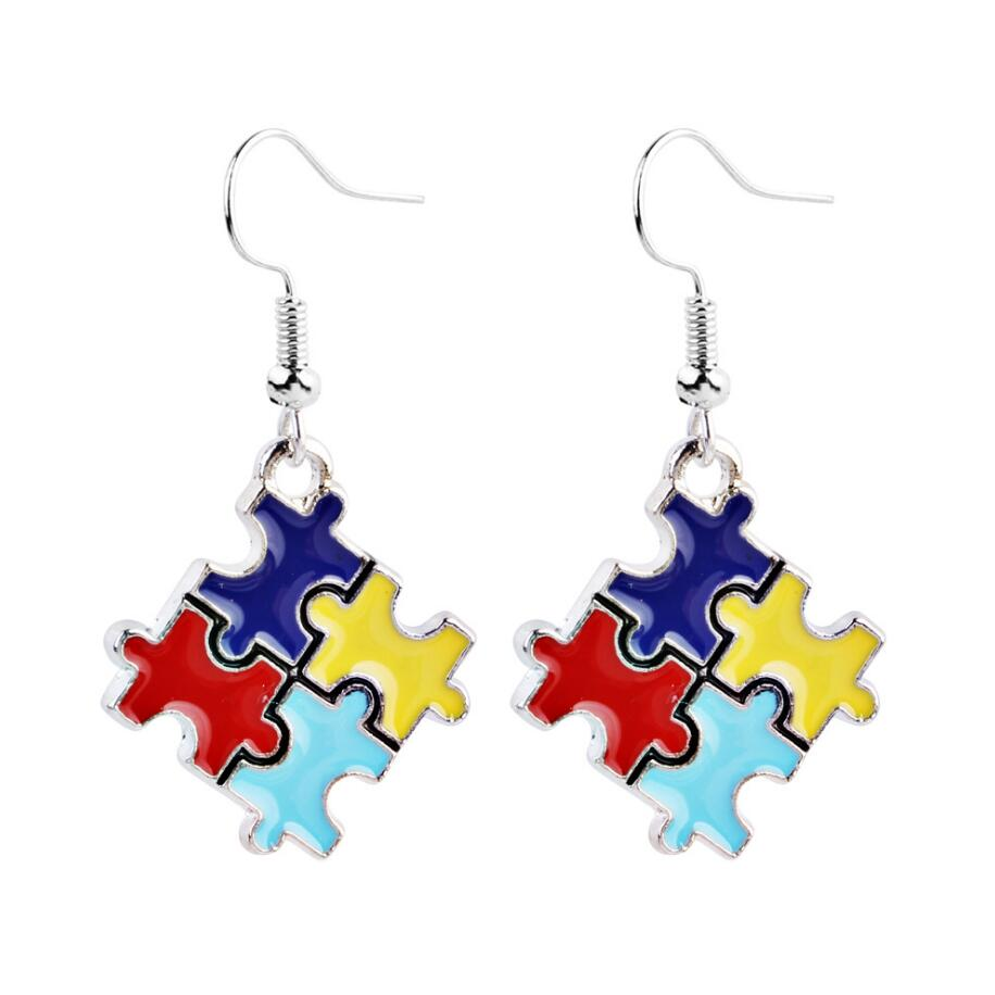 High Quality Sparkling Multi-Colored Earrings Fashion Jewelry Crystals Autism Hope Puzzle Piece Charm drop Earrings For Women(China)