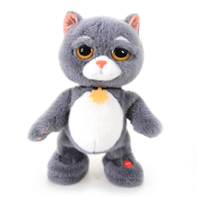 High Quality Fluffy hair Tabby Grey Cat  Electric Toy Dancing & Singing Swag Grey Cat Plush Electronic Doll Toys for Kids Boy