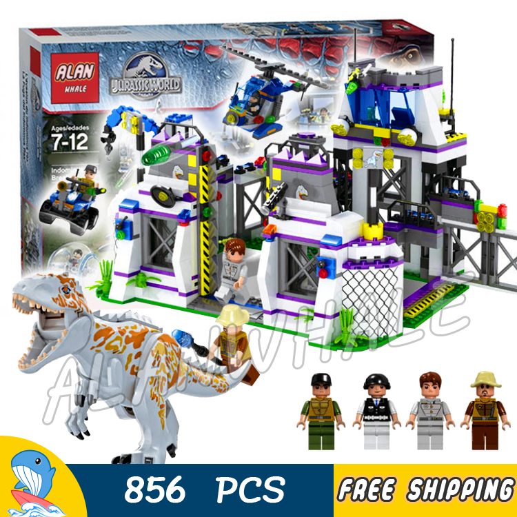 856pcs Jurassic World Dinosaur Indominus Rex Breakout <font><b>TS8000</b></font> Model Building Blocks Toy Brick Compatible With image