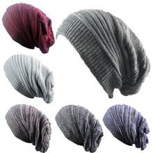 цена на Hip Hop Knitted Hat Women's Winter Warm Casual Acrylic Slouchy Hat Crochet Ski Beanie Hat Female Soft Baggy Skullies Beanies Men