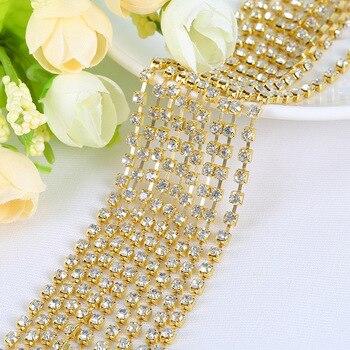 Prajna cosido en diamantes de imitación en base de garra cadena plata Multi-diamante de imitación coloreado ajuste para ropa vestido de boda piedras y cadena de copa de cristal