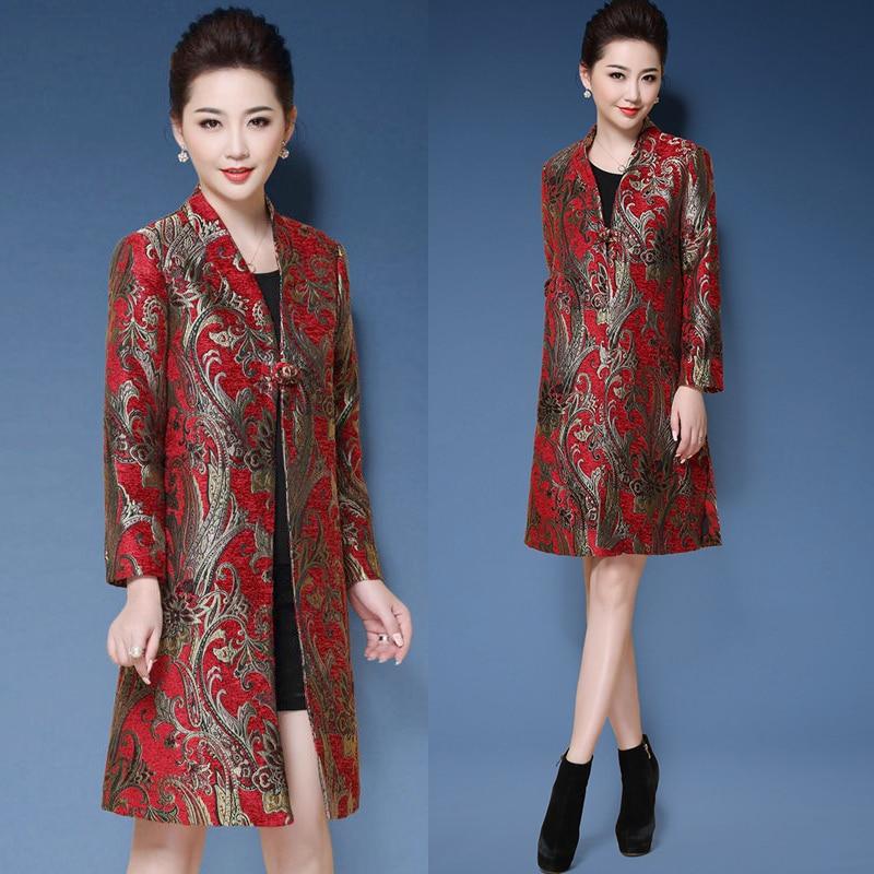 Осенне весенняя женская мода Красный Добби цветочный китайский 4xl 5xl Тренч, осень 2018 Вышивка Элегантные длинные пальто для женщин