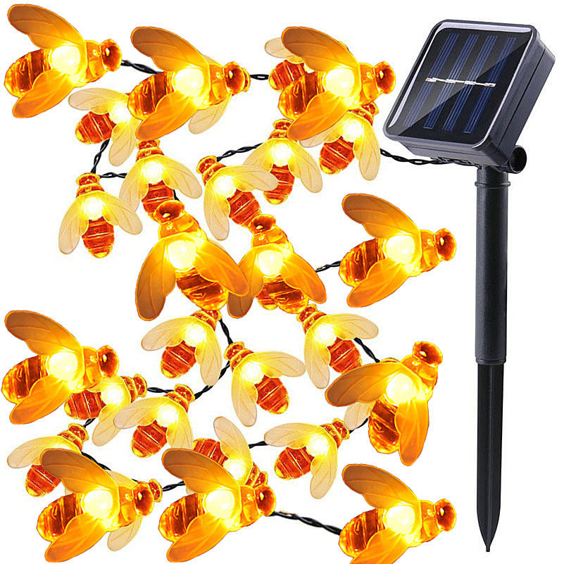 5M Solar Lights String 20 Led Honey Bee Shape Solar Powered Fairy Lights For Outdoor Home Garden Fence Summer Decoration