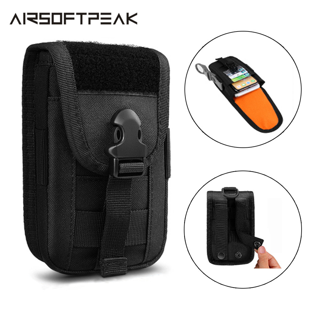 Tactical Phone Pouch Double Layer Card Phone Holster Molle Smartphone Men Belt Waist Bag Utility Gadget Gear Tool Military EDC