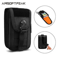 Tactical Phone Pouch Double Layer Card Phone Holster Molle Smartphone Men Belt Waist Bag