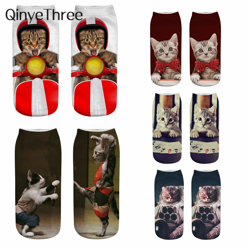 2019 New Unisex Funny 3D Printing Cat Cosplay Character Socks Women Fashion Cartoon Cat Sox Astronaut Boxer Gentleman Role