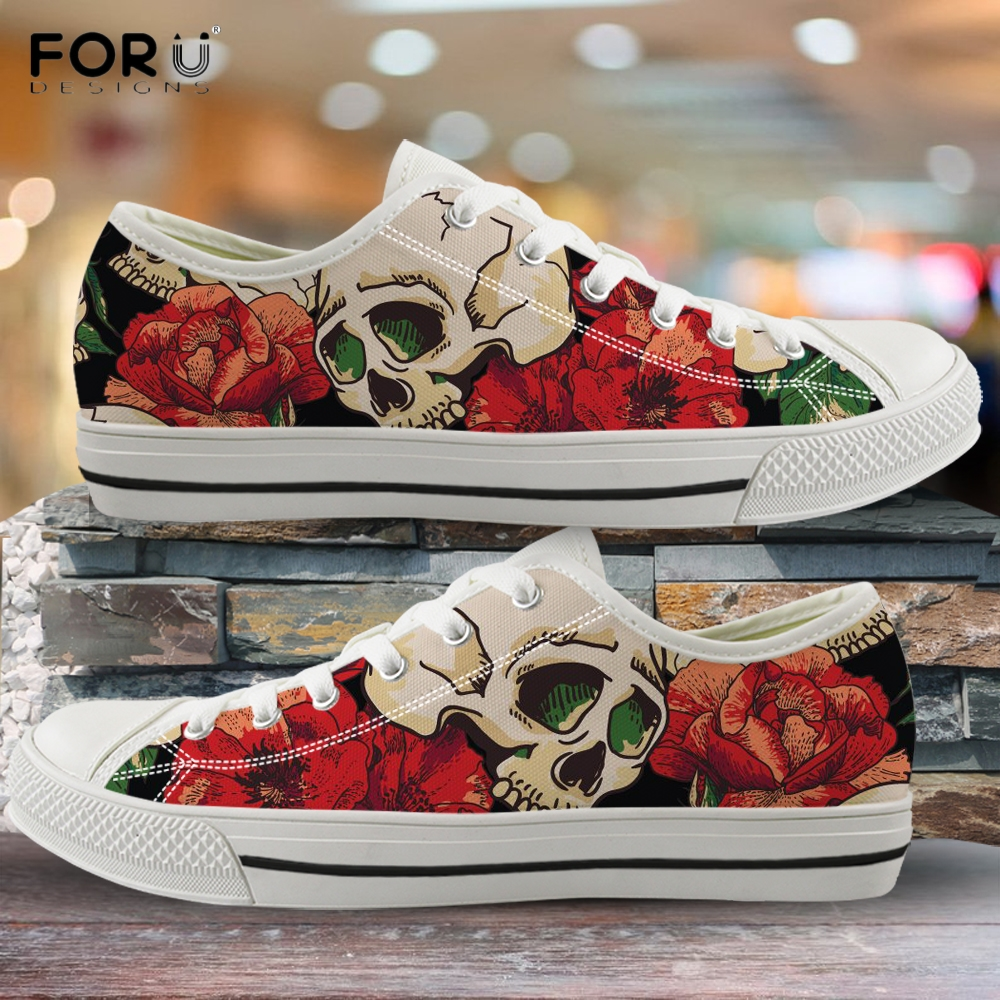FORUDESIGNS 3D Skull and Rose Printed Womens Shoes Floral Pattern Low Top Ladies Shoes Spring/Autumn Woman Vulcanized Sneakers