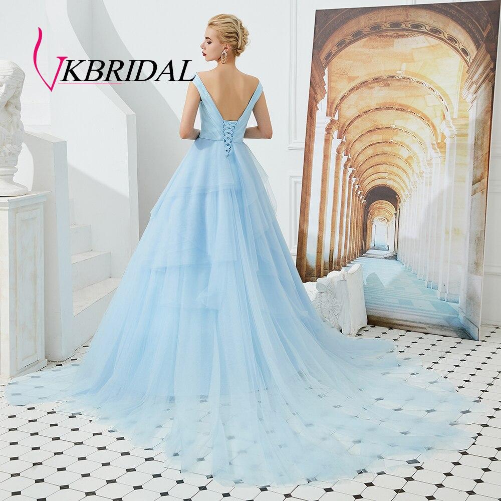 €9.9 9% de DESCUENTOVKbridal largo Vestido de noche azul de 9  niveles Vestido Formal Vestido de fiesta Abendkleider Lang Vestido Longo