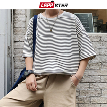 LAPPSTER Men Oversized Striped Tshirts 2020 Harajuku Cotton Tops Mens Colorful Yellow Tshirts Couple Streetwear T-shirts Tees
