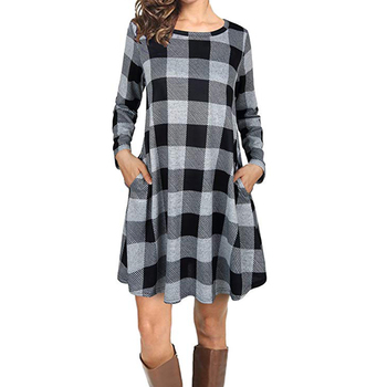 Women's Plaid Casual Dress O-neck Women Long-sleeved Loose Clothing Pocket Streetwear Winter Round Collar Mini Dress
