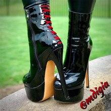 Onlymaker damskie zaokrąglone 16CM cienkie wysokie czarny kolor Toe z boku na zamek błyskawiczny szczupła mody Party botki rozmiar Plus US5 ~ US15