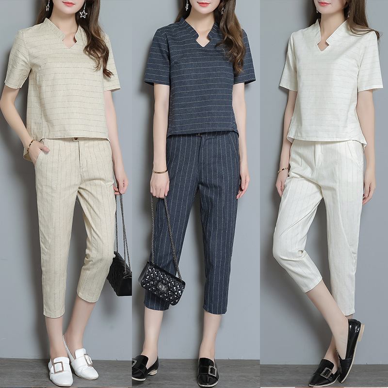 2017 Summer New Style Korean-style WOMEN'S Wear Trendy Two-Piece Set Short-sleeved Top Skinny Pants Cotton Linen WOMEN'S Suit