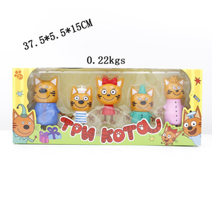 Image 4 - 2019 New Hot 5pcs Happy Three Kitten Russian Action Figure Toy kid Cats e Cat Model Doll Kid Toy Children Christmas Gift