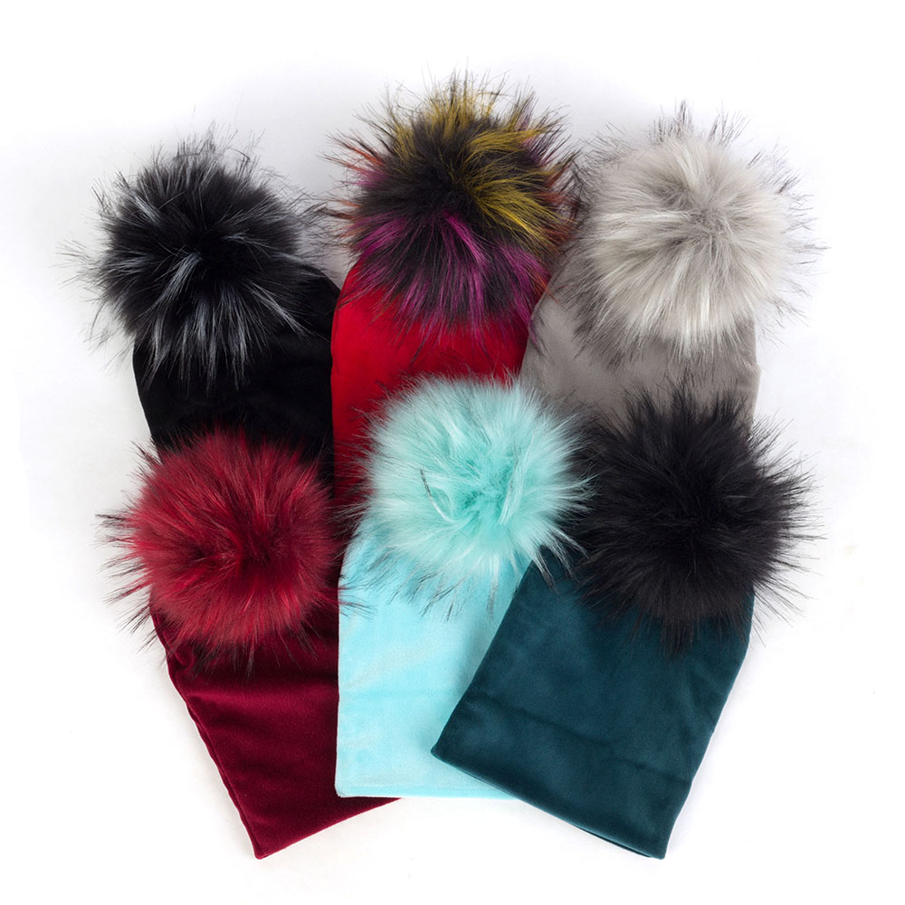 Toddler Velvet Beanies With Hairball Baby Girls Cut Soft Winter Warm Hats With Faux Fur Pom Pom Newborn Thicken Hat Solid Color