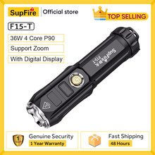 SupFire F15-T 36W Powerful Flashlight With Display 6 Lighting Modes Outdoor Light Camping Lantern Waterproof LED Zoom Torch