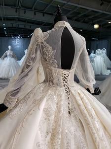 Image 5 - HTL1258 2020 חתונה שמלת boho גבוהה צוואר ארוך שרוול נצנצים ואגלי קריסטל תחרה עד בחזרה כלה שמלות suknia ślubna boho חדש
