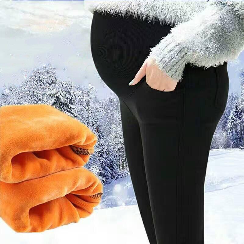 Winter Pregnant Cotton Blend Gold Velvet Black Pants Thick Warm Stretch Slim Adjust Maternity Leggings Mother High Waist Clothes