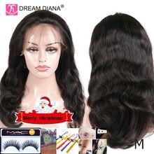 """DreamDiana бразильский объемный волнистый полный парик на шнурке remy волосы парики полный парик шнурка 8-2"""" ручной работы 150 плотность человеческих волос полный парик шнурка M"""