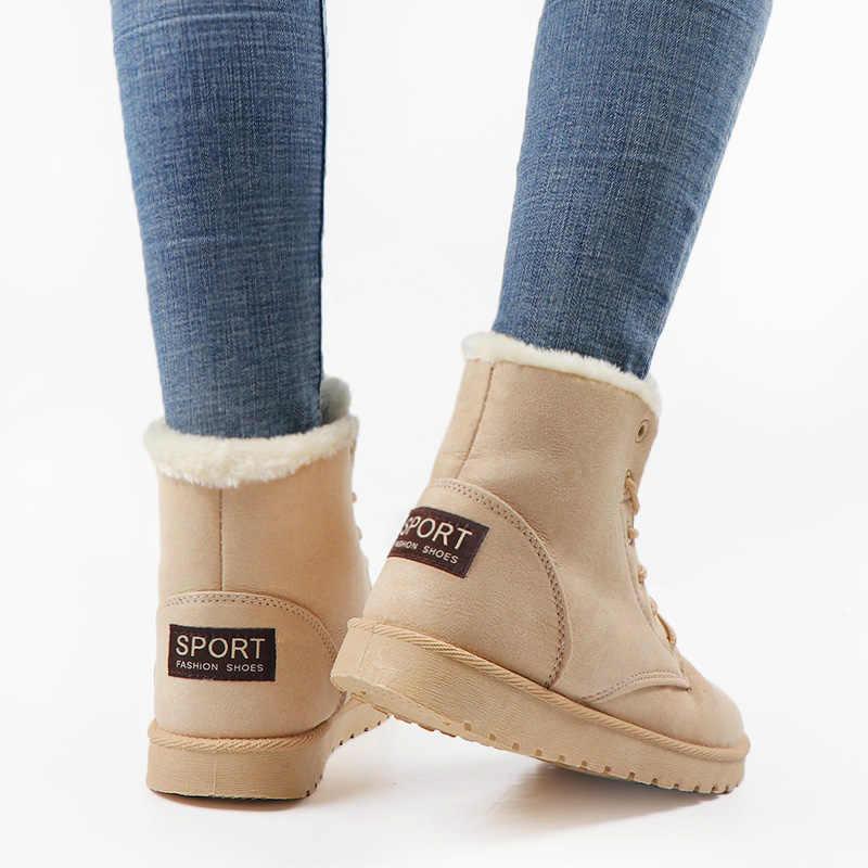 Yeni yarım çizmeler Kadın Kar Botları Sıcak Kürk Botines Kış dantel-up platform ayakkabılar Bayanlar Açık Ayakkabı Botines Mujer 2019
