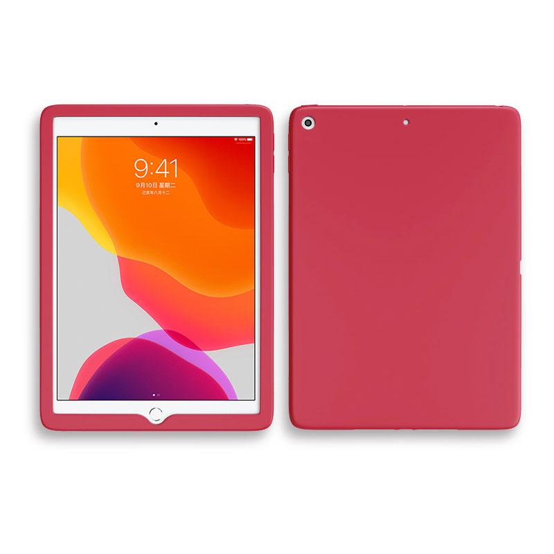 Red Red Shockproof Case For Apple iPad 10 2 inch 2019 2020 Soft Silicone Rubber Protective Tablet Case