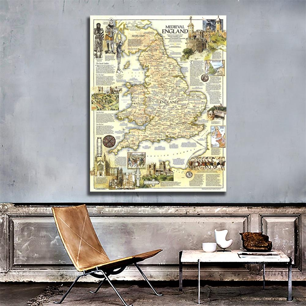 150x225cm HD Printed Medieval England Map Vinyl Spray Painting Waterproof Home Decor Painting Wall Art Map For Office Wall