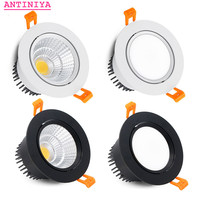 Luces LED empotradas antideslumbrantes y regulables, focos de techo COB, lámparas de fondo de AC90-260V, redondos, 4 tipos, 5W7W9W12W15W18W20W