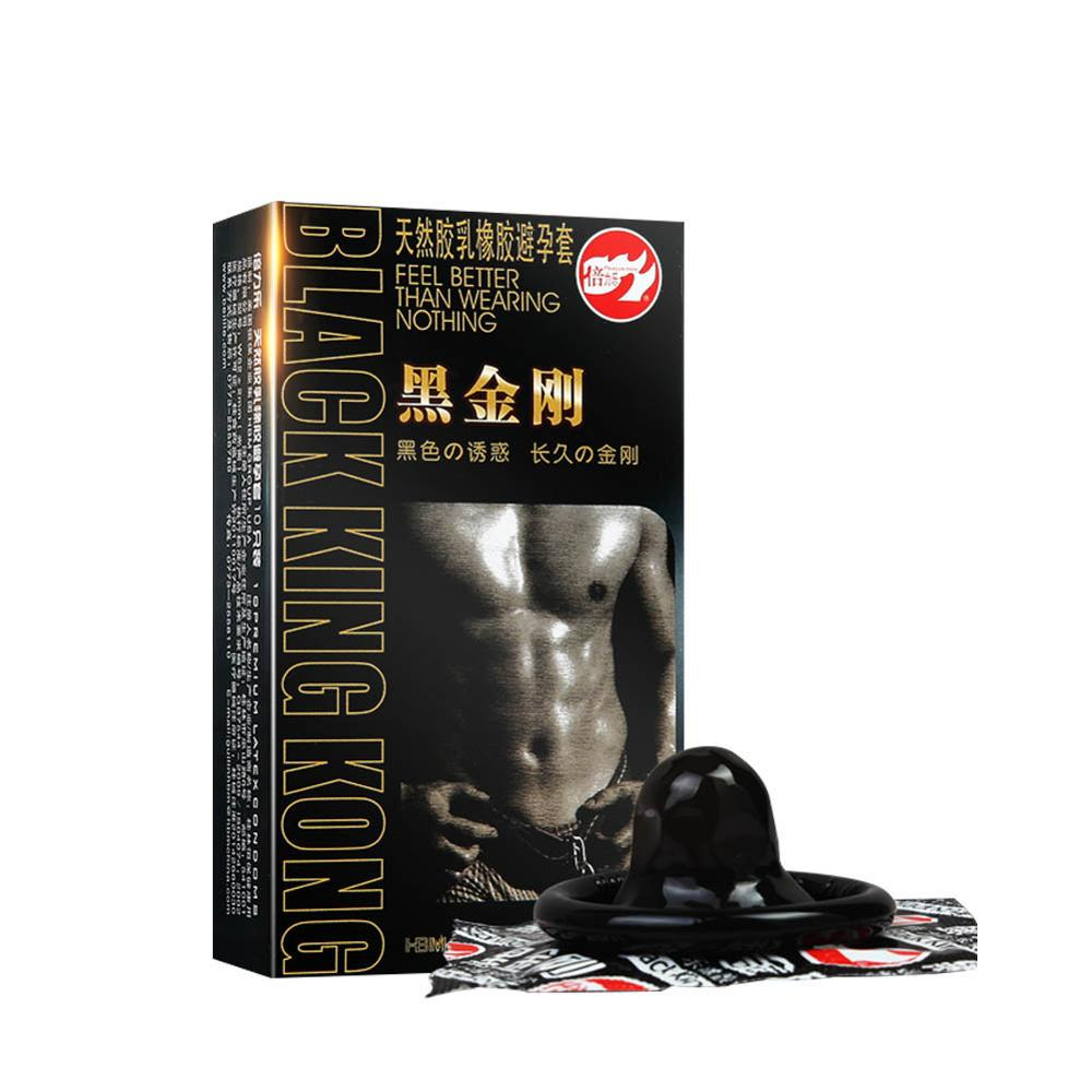 10 Pcs Black men Condoms Slim Penis Sleeve Long Lasting Natural Latex Lubricated Condoms Contraception Sex Products Cock Ring