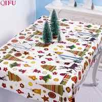 QIFU Papai Noel Feliz Natal do Boneco de neve de Natal Toalha De Mesa Decoração para Casa Enfeites de Natal 2019 Natal Feliz Ano Novo 2020