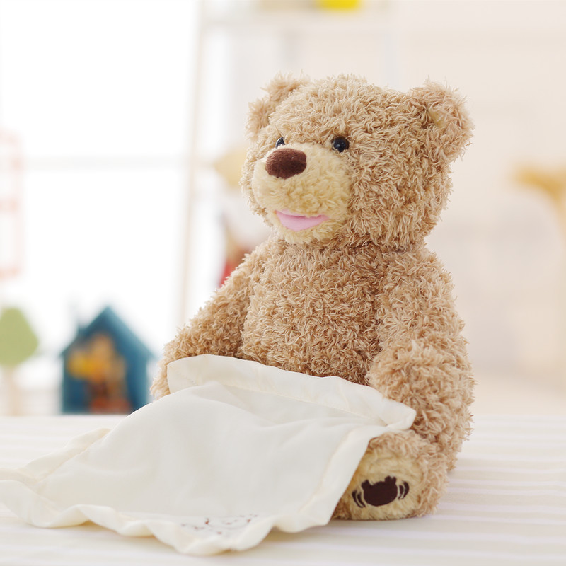 Peek a Boo Bear Teddy Bear Plush Dolls Electric Music Bear Plush Toy Stuffed Kids Gift Educational Bear Play Hide Seek