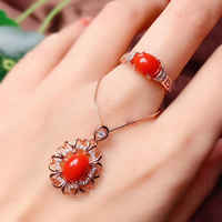 CoLife Jewelry 100% Real Red Coral Jewelry Set 7mm*9mm Natural Precious Coral Silver Jewelry Fashion Red Coral Jewelry