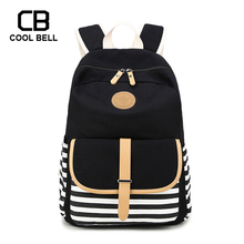 Navy Striped Canvas Waterproof School Backpack For Girls Travel Laptop Sports Bags Gift