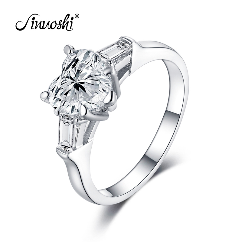 AINUOSHI Luxury 2 Carat Heart Shape Ring Engagement 925 Sterling Silver Jewelry Ring Wedding Engagement Ring Women Girl Bijoux