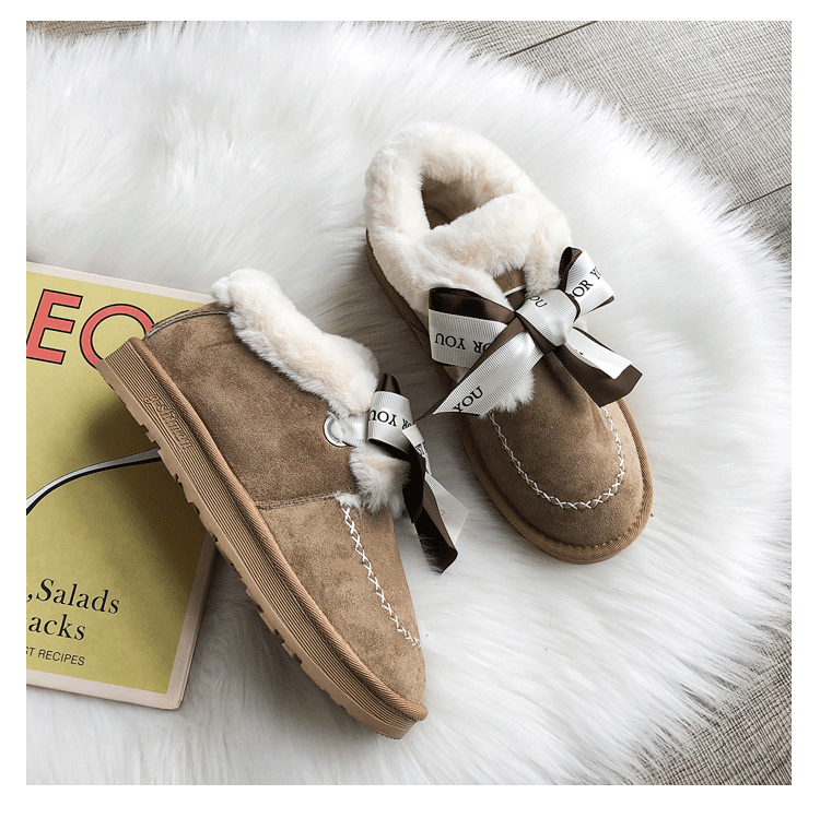 2019 Women Snow Boots Winter Ankle Boot Female Bow Warmer Plush Suede Rubber Flat Slip On Fashion Platform Ladies Shoes 42
