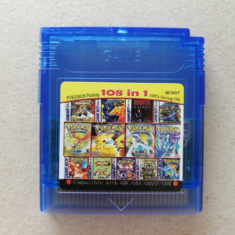 Pokemon GBC Games  GB Game Card 108 In One English Card Classic Game Collect Colorful Version English Language