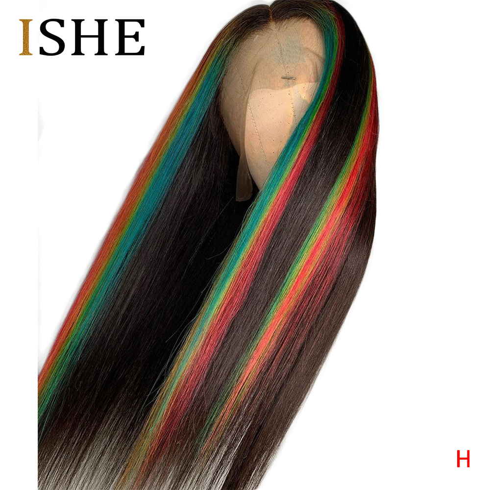 Highlight Colored Lace Front Human Hair Wigs Red Blue Green Straight Lace Front Wigs For Women Pre Plucked Lace Wig Remy 150
