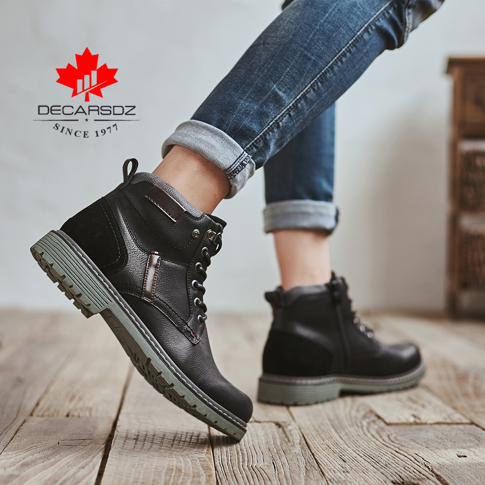 DECARSDZ Men Boots Autumn Comfy Durable outsole Lace-up Fashion Shoes Men 2020 Leather Casual Boots Men Brand design Men's Boots 3