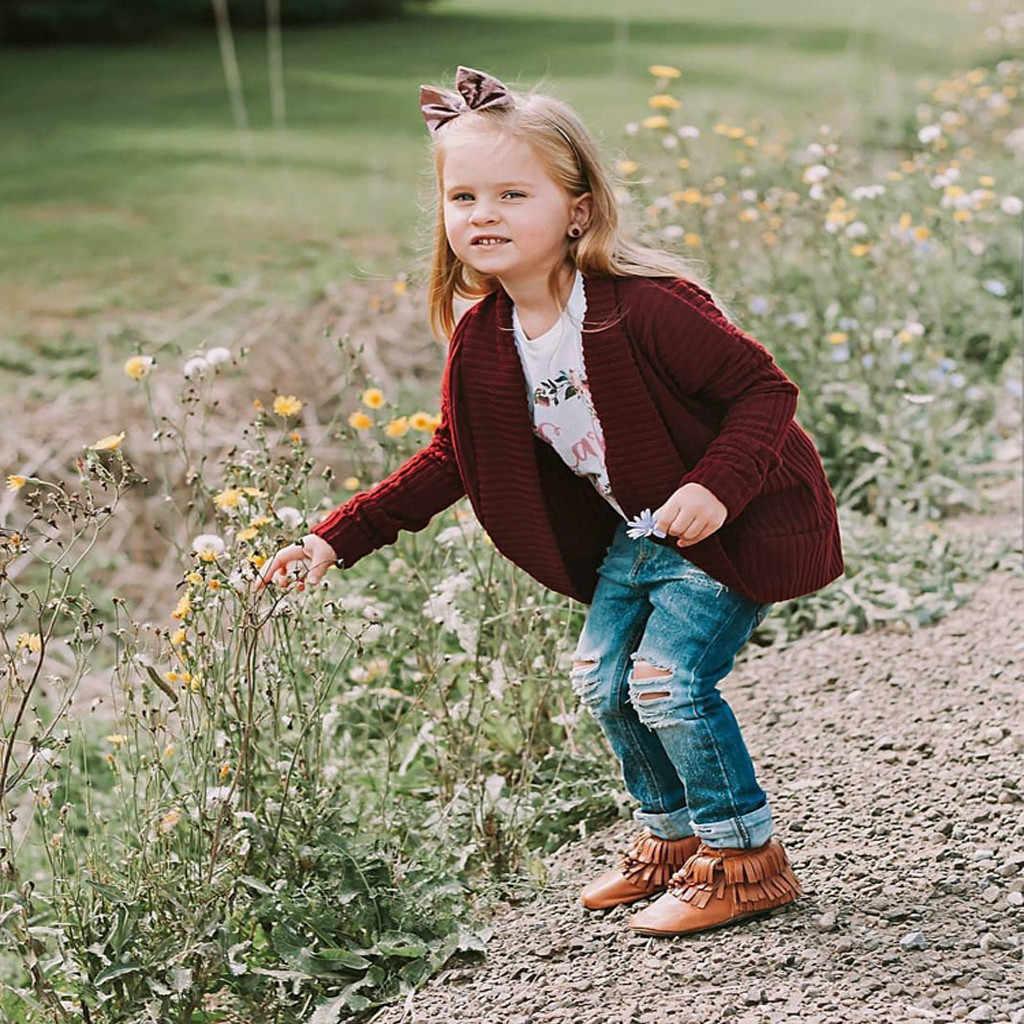 פעוט ילד בנות בני מוצק סוודר תינוקות תינוק לסרוג חורף חם מזדמן מעיל קרדיגן ארוך שרוול אופנה מעיל להאריך ימים יותר 2019