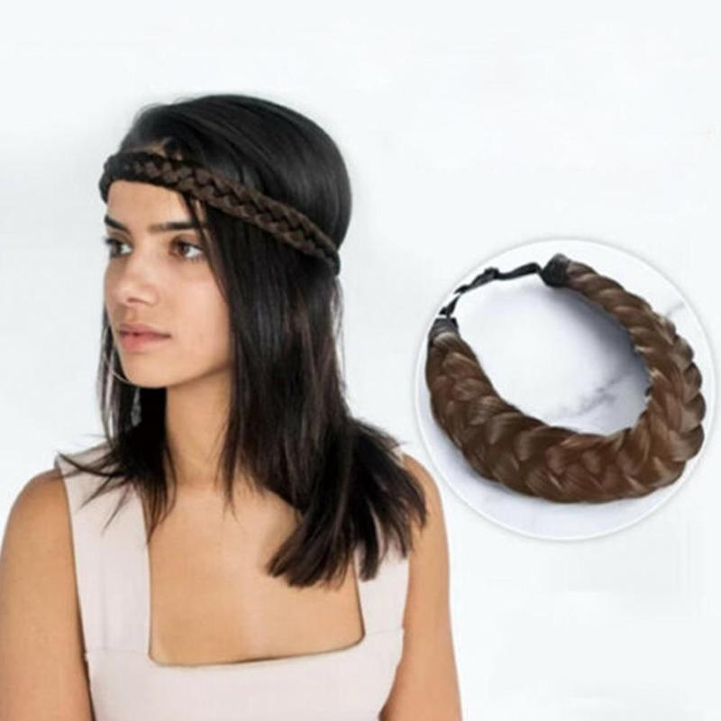 Fashion Wig Headband Braids Hair Accessories Women Hairstyle Plait Braided Hair Band Girls Elastic Hairband Female Headwear